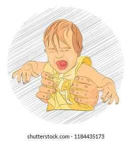 crying child hysterics. hurt. vaccination. violence. sketching technique