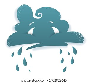 Crying cloud. Sad face of rainy storm cloud with eyes. Bad damp weather symbol with drops of rain. Cartoon, Isolated on white background. Eps10 vector illustration.