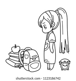 Crying cute girl ready for School. Vector illustration for books, prints, posters, cards. Coloring page