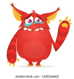 Crying cute monster cartoon. Red monster character. Vector illustration for Halloween