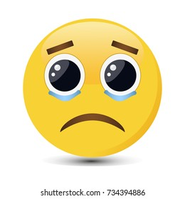 Crying emoticon with big eyes and tears in trendy flat style. Sad emoji vector illustration.