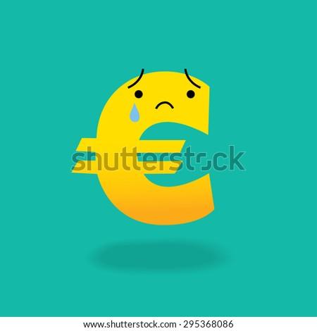 Crying Euro Sign Cartoon Character Economics Stock Vector Royalty