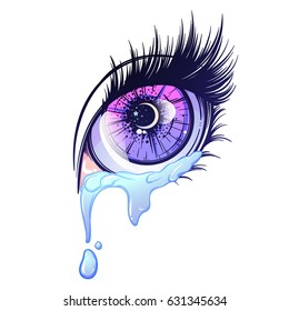 Crying eye in anime or manga style with teardrops and reflections. Highly detailed vector illustration. EPS10 vector illustration