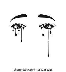 Crying eye - human eye crying have tear drop.