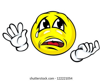 Crying face with hands in cartoon style. Jpeg version also available in gallery