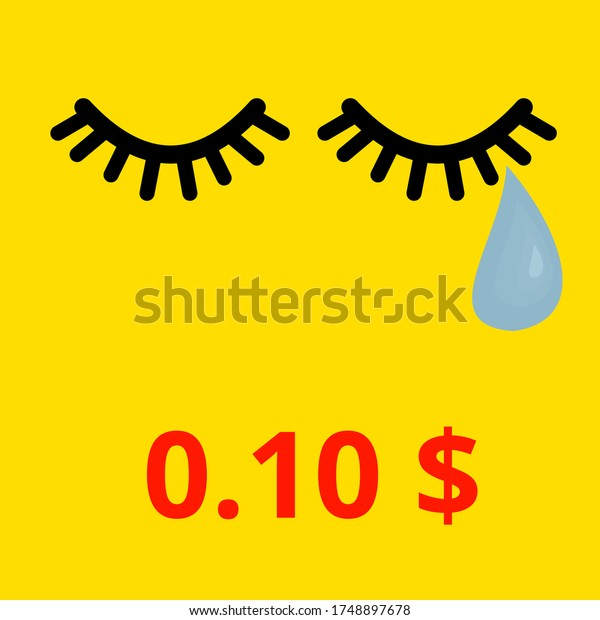 Crying face. Image representation of unfair payment reduction for authors from photo agencies.