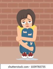 crying girl sits hugging her knees near wall vector cartoon - vector cartoon illustration in flat style
