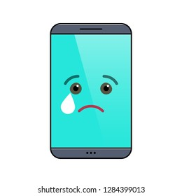 Crying mobile phone isolated emoticon icon. Tragic digital device emoji symbol. Social communication and chatting. Melancholy smartphone showing facial emotion. Animated cell phone vector illustration