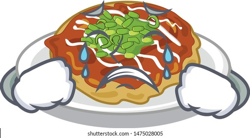Crying okonomiyaki isolated with in the character