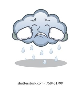 Crying rain cloud character cartoon