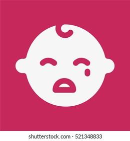 Crying Sad Baby Child Kid Face Minimalistic Flat Solid Icon Pictogram Symbol