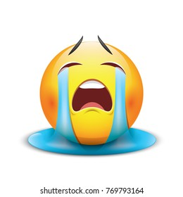 Crying sad emoticon, emoji, smiley - vector illustration