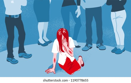 Crying sexual abuse victim who is being rebuked by the people - Sexual harassment concept art