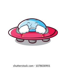 Crying ufo mascot cartoon style