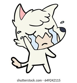 crying waving fox cartoon