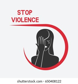 crying woman. stop violence concept. vector illustration - eps 8