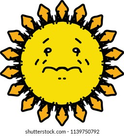 Crying yellow sun cartoon