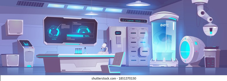 Cryonics laboratory empty interior with equipment and technics, cryo camera with low temperature regime, digital screen with graphs, desk with microscope and glass flasks, Cartoon vector illustration