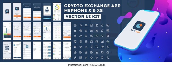 Crypto App UI Kit for responsive mobile app or website with different GUI layout including Login, Create Account, Profile, Transaction and trending screens.
