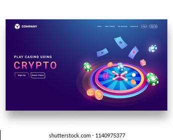 Crypto casino concept isometric design of roulette wheel with dice, poker chip, coins, playing cards and sign up page for website or mobile apps.