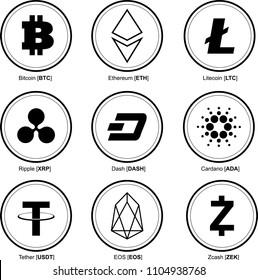 crypto coins. crypto currency. Bitcoin BTC,  Ethereum ETC, Litecoin LTC, Ripple XRP, Dash DASH, Cardano ADA, Tether USDT, EOS EOS, Zcash ZEK. Vector illustration.