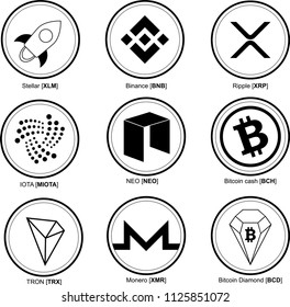 crypto coins set. crypto currency. Bitcoin Cash BCH,  Bitcoin Diamond BCD, Stellar XLM, Ripple XRP, IOTA MIOTA, Tron TRX , Binance BNB, NEO NEO, Monero XMR . Vector illustration.