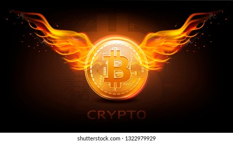 Crypto currency background with bitcoin and fire wings