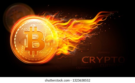 Crypto currency background with bitcoin and fire