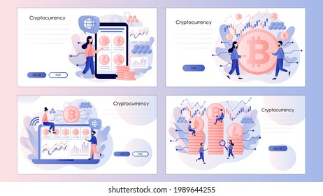 Crypto currency. Bitcoin, altcoin. Digital web money. Blockchain. Fintech industry. Trading. Screen template for landing page, template, ui, web, mobile app, poster, banner, flyer. Vector illustration