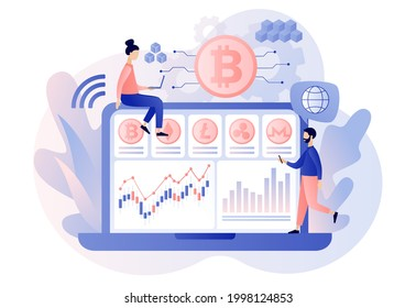 Crypto currency. Bitcoin, altcoin. Tiny people trading and investing use laptop. Digital web money. Blockchain. Fintech industry. Business, finance. Modern flat cartoon style. Vector illustration