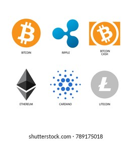 crypto currency bitcoin cardano ethereum bitcoin cache litecoin ripple on white background set