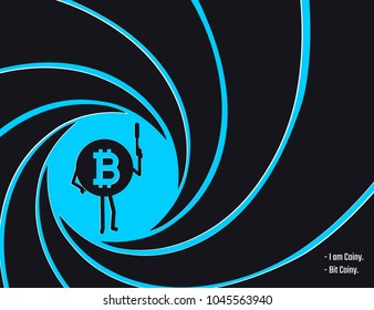 Crypto currency Bitcoin in the circle of  rifled barrel vector illustration. Secret agent, detective, spy Bit Coiny character with a gun flat style illustration