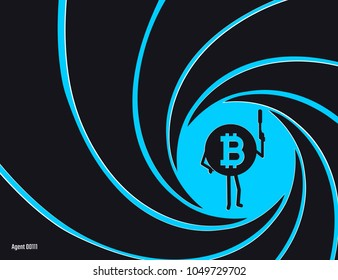 Crypto currency Bitcoin in the circle of rifled barrel vector illustration. Secret agent, detective, spy Bit Coiny, Agent 00111 character with a gun flat style illustration