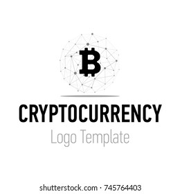 Crypto currency or bitcoin logo design. Modern logotype wireframe lines graphic design isolated on white background.