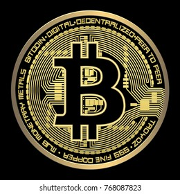 Crypto currency bitcoin vector illustration on a black backgroun