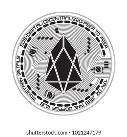 Crypto currency black coin with black eos symbol on obverse isolated on white background. Vector illustration. Use for logos, print products, page and web decor or other design.