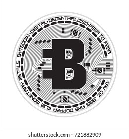 Crypto currency black coin with black lackered bytecoin symbol on obverse isolated on white background. Vector illustration. Use for logos, print products, page and web decor or other design.