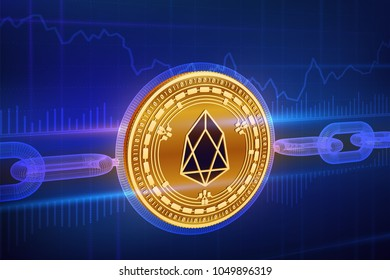 Crypto currency. Block chain. Eos. 3D isometric Physical golden Eos coin with wireframe chain. Blockchain concept. Editable Cryptocurrency template. Stock vector illustration.