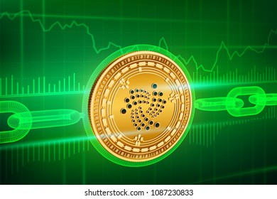 Crypto currency. Block chain. Iota. 3D isometric Physical golden Iota coin with wireframe chain. Blockchain concept. Editable Cryptocurrency template. Stock vector illustration.