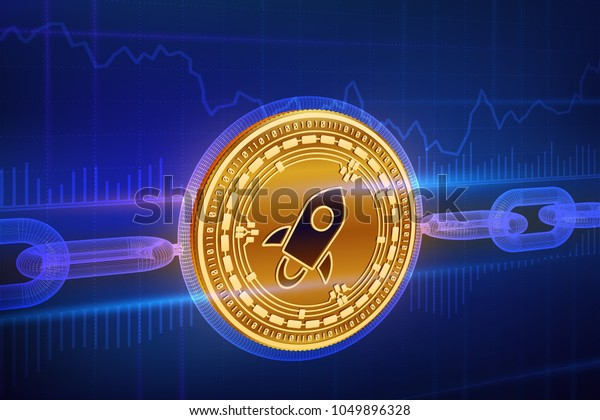 Crypto currency. Block chain. Stellar. 3D isometric Physical golden Stellar coin with wireframe chain. Blockchain concept. Editable Cryptocurrency template. Stock vector illustration.
