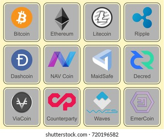 Crypto currency. Character collection of crypto currency. Vector.