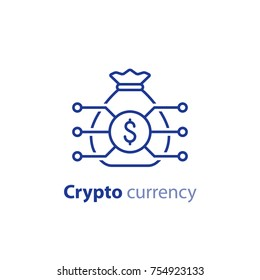 Crypto currency concept, block chain, money bag, financial item, investment portfolio, innovation technology, business start up, invest fund, vector line icon