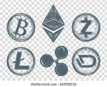 Crypto currency elements icon. Bitcoin, Litecoin,  Etherium, Ripple, Dash, Zcash, DigiByte. Blockchain and Cryptocurrency vector