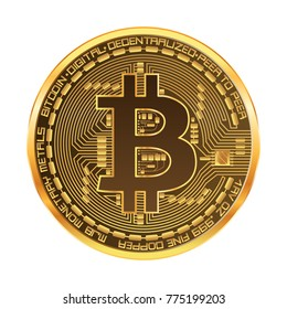Crypto currency golden coin with golden bitcoin symbol on obverse isolated on white background. Vector illustration. Use for logos, print products, page and web decor or other design.
