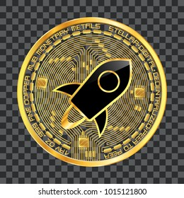Crypto currency golden coin with black lackered stellar symbol on obverse isolated on transparent background. Vector illustration. Use for logos, print products, web decor or other design.