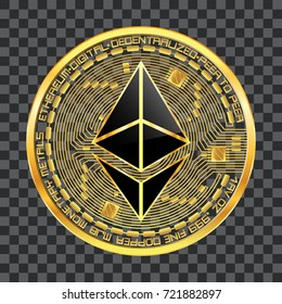 Crypto currency golden coin with black lackered ethereum symbol on obverse isolated on transparent background. Vector illustration. Use for logos, print products, web decor or other design.