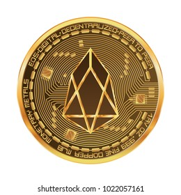 Crypto currency golden coin with eos symbol on obverse isolated on black background. Vector illustration. Use for logos, print products, page and web decor or other design.