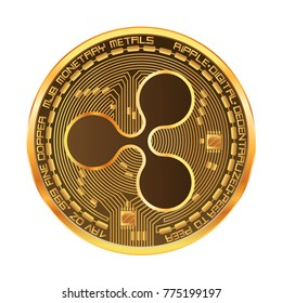 Crypto currency golden coin with gold ripple symbol on obverse isolated on white background. Vector illustration. Use for logos, print products, page and web decor or other design.