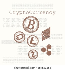 Crypto currency hand drawn concept. Bitcoin, Litecoin,  Etherium, Ripple, Dash, Zcash, DigiByte. Blockchain and Cryptocurrency vector