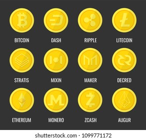 Crypto currency icons coin. Set of digital money for apps, websites or logo. Dash, Bitcon, Litecoin, Ripple, Ethereum, Monero, Zcash, Augur, Mixin, Stratis, Maker, Decred. Vector illustration.